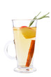 Mulled wine with apple, cinnamon sticks, rosemary isolated on white background. Mulled wine in a tall glass.