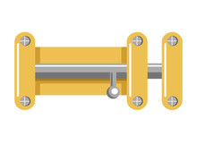 Bright Metal Lock With Yellow Corpus And Shiny Latch