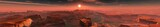 Panorama of the sunset over the canyon, sunset in Arizona, panorama of the red mountains, banner, 3d rendering
