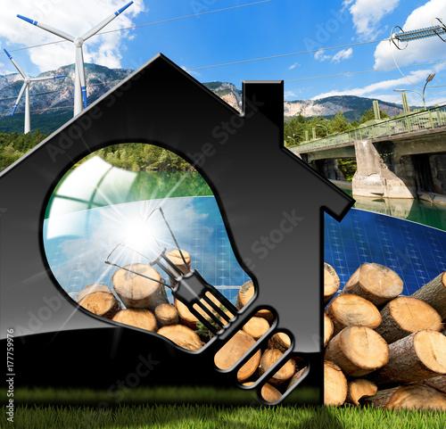 Zdjęcie XXL Dom z żarówką i zasobami odnawialnymi