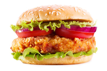 Panel Szklany Do restauracji chicken burger isolated on white background