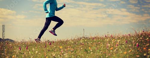 Fototapeta young fitness woman runner running on grassland mountain top obraz