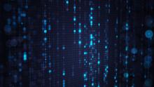 Blue Matrix Rain Of Digital HEX Code With Bokeh