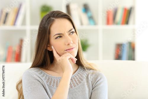 Fotografie, Obraz  Woman wondering sitting at home