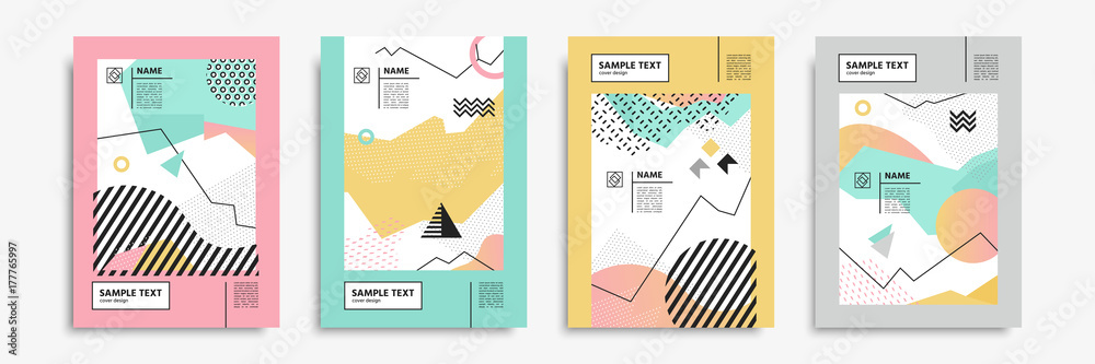 Fototapeta Cover set in memphis, bauhaus, hipster, geometric style. Vector templates for posters, placards, banners, brochures, presentations, covers, leaflets, catalogs. Geometric abstract shape backgrounds.