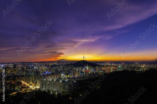 Beautiful Seoul city skyline and sunrise. Wallpaper Mural