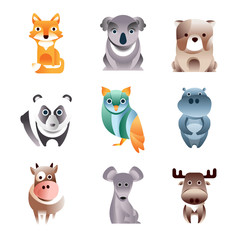 Different colorful animals set, geometric flat style vector Illustrations