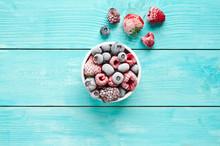 Bowl Of Frozen Berries. Frozen...