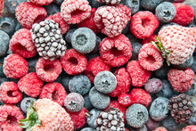 Frosted Or Frozen Berries Background. Frozen Berries.