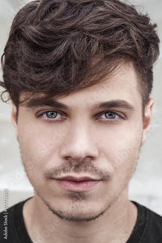 Illuminated Portrait Of Handsome Man On White Background Male Model