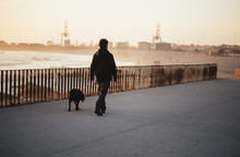 Silhouette Of A Man Walking With His Dog At The Sunset Matosinhos Beach, Summer Portugal