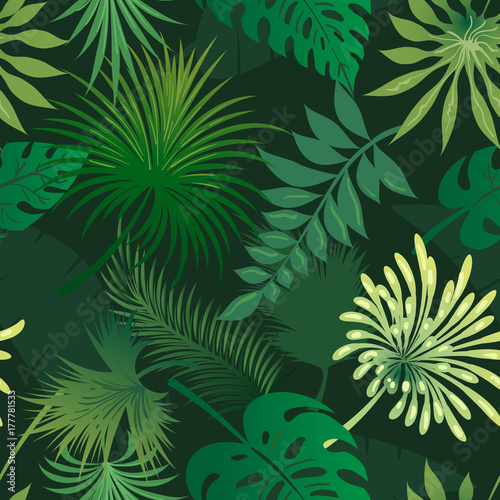 Tropical Leaves Seamless Pattern Palm Leafs Green Vector Wallpaper For Print Design