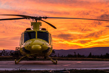 Helicopter On A Sunset