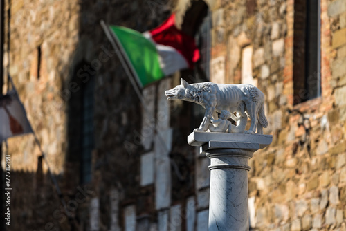 Fotografija Sculpture of a she wolf suckling the infants Romulus and Remus, with the Italian flag in the background, Montalcino, Italy
