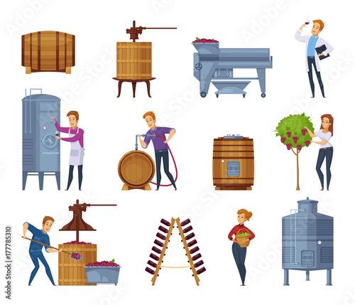 Fotografía Wine Production Cartoon Icons Set