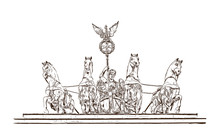 Hand Drawn Sketch Of Brandenburg Gate Horse Statue Berlin, Germany In Vector Illustration.