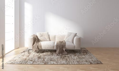 Sofa on carpet in bright room Fotobehang