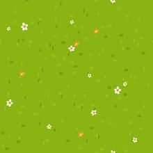 Cartoon Grass With Small Flowe...