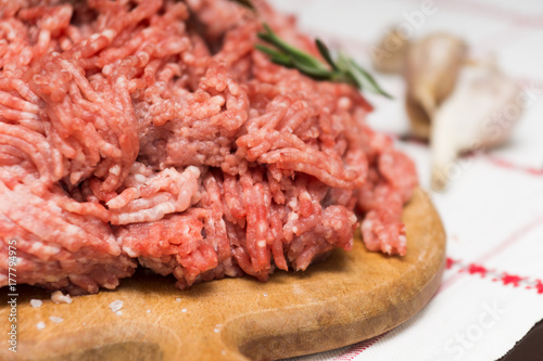 Staande foto Vlees Raw mince meat for dumplings close-up shot.