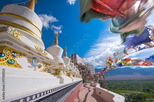 Fotografia  Stupas at Thiksey monastery, located on top of a hill in Thiksey village east of Leh in Ladakh, India