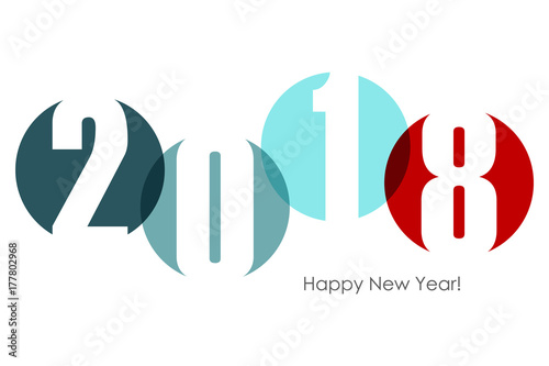 Fotografia, Obraz  Happy new year 2018 text design. Vector illustration.