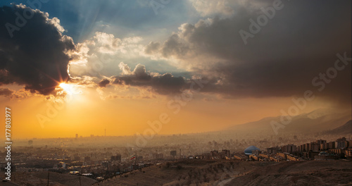 Panorama sunset View of Tehran City The Capital Of Iran with Dramatic sky