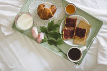 Detail Of Healthy Breakfast On The Bed