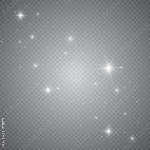 Fotografia Set of shining lights isolated on a transparent background