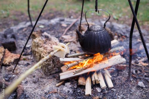 Plakat Czajniczek z herbatą rozgrzewa się w kominku w lesie