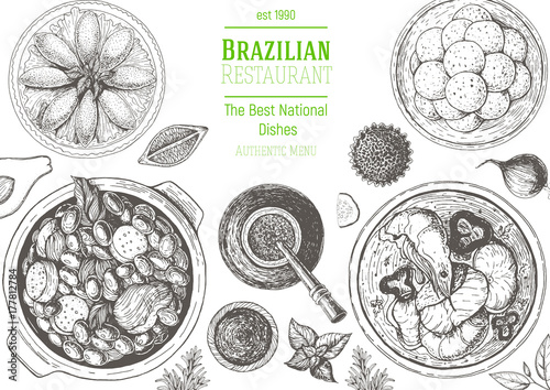 Brazilian Cuisine Top View Frame Brazilian Food Menu Design