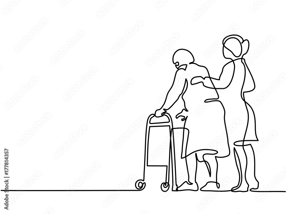 Fototapeta Continuous line drawing. Young woman help old woman using a walking frame. Vector illustration