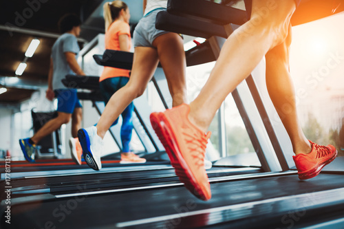 Fotografia, Obraz  Picture of people running on treadmill in gym