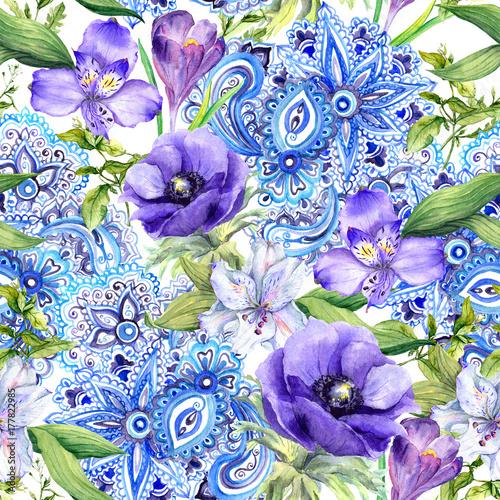 kwiatowy-tlo-dekoracyjny-ornament-wschodniej-w-stylu-boho-bezszwowy-wzor-akwarela