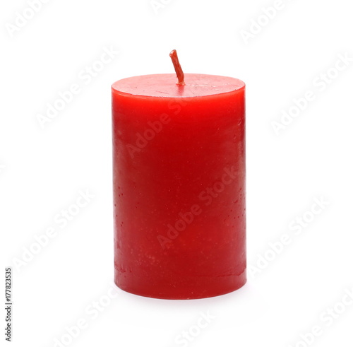Fotografie, Obraz Extinguished red candle isolated on white background