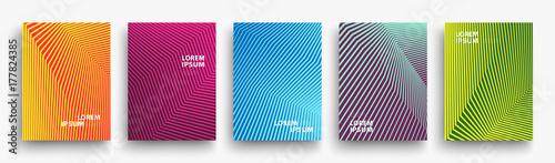 Prosty nowoczesny szablon okładek. Zestaw minimalnych gradientów geometrycznych półtonów dla prezentacji, czasopisma, ulotki, raporty roczne, plakaty i wizytówki. Wektor EPS 10