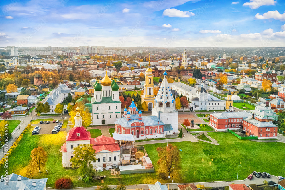 Fototapety, obrazy: Aerial view on churches in old town (kremlin) of Kolomna, Moscow oblast, Russia