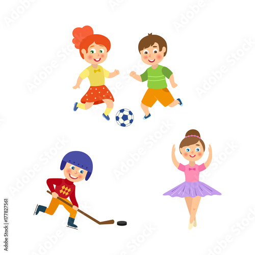 Vector Flat Cartoon Funny Young Teen Kids Doing Sports Set Boy And Girl Playing Football Girl Ballet Dancer Boy Hockey Player In Uniform Isolated Illustration On A White Background Buy This