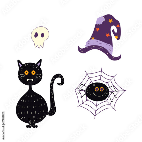 4f6bdf9c vector flat cartoon halloween autumn holiday symbols set. Black funny cat,  spider in net, magic witch pointed hat and ghost skull.