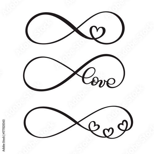 Fotografia  set of word LOVE original custom hand lettering, handmade calligraphy, design wi
