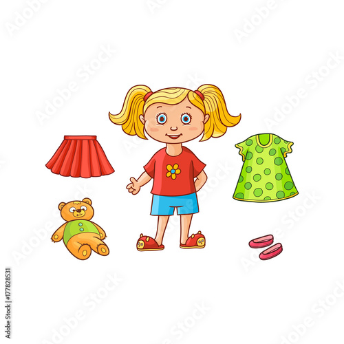 b49892482d72f Little girl, child, kid and her things - dress, skirt, shoes and teddy bear  toy, flat cartoon vector illustration ...
