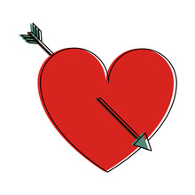 Heart Cartoon With Arrow Valen...