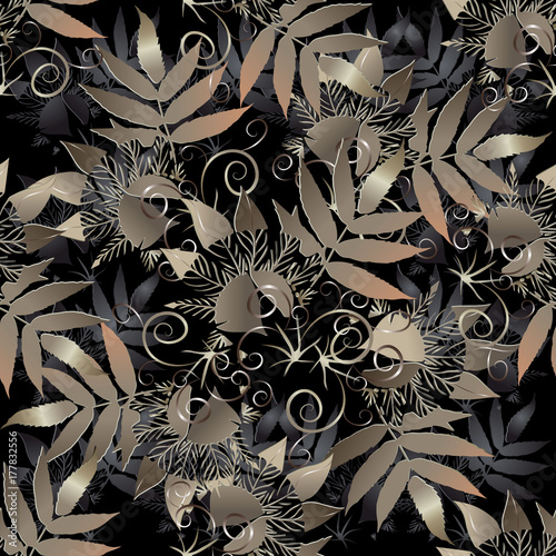 floral seamless pattern dark leafy