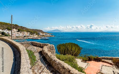 Zdjęcie XXL Widok morze śródziemnomorskie od Levanzo wyspy w Sicily, Włochy