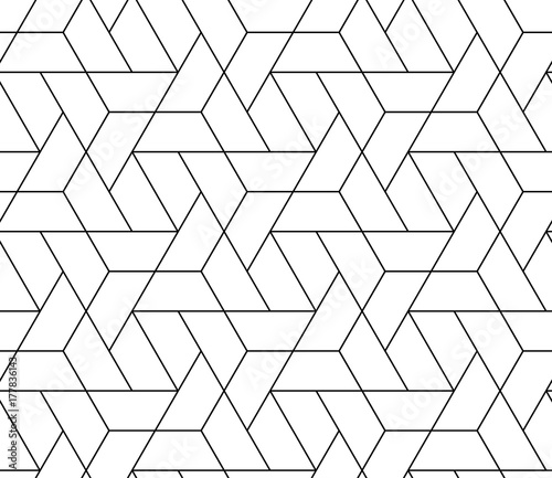 obraz PCV MODERN STYLISH TRELLIS TEXTURE. SEAMLESS VECTOR PATTERN. GEOMETRIC MONOCHROME BACKGROUND