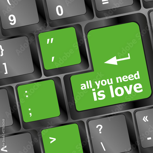 Photo  Computer keyboard key - all you need is love