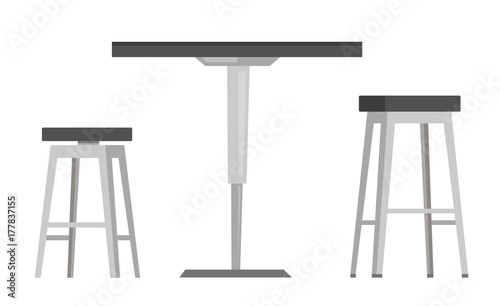 Papel de parede Modern round table with two bar chairs vector cartoon illustration isolated on white background