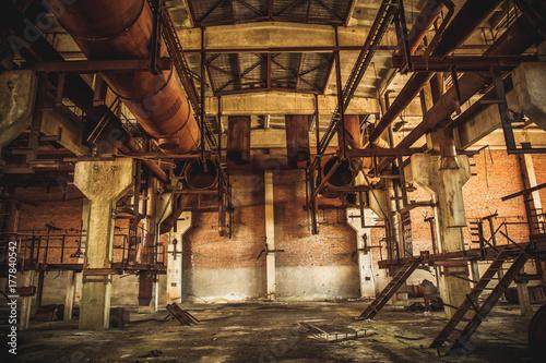 Staande foto Praag Abandoned industrial creepy warehouse inside old dark grunge factory building