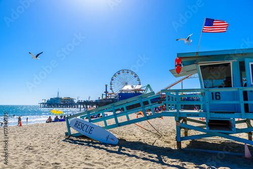 Poster Lieux connus d Amérique Santa Monica Beach, Los Angeles, California, USA