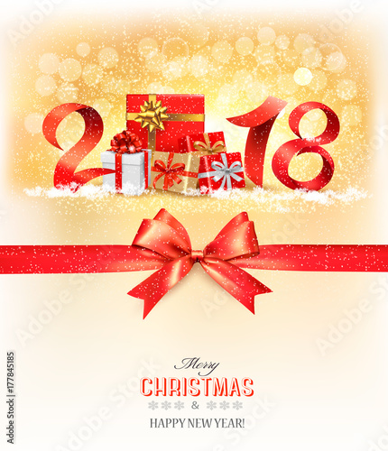 new year background with a 2018 and gift boxes and red ribbon vector