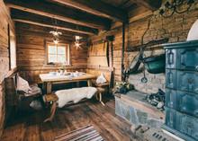 Interior Of A Typical Austrian Wooden Alpine Cabin - Livingroom
